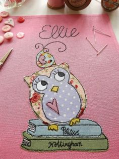 SewforSoul: Freehand / Freestyle machine embroidery.  Appliqued owl fabric journal cover.
