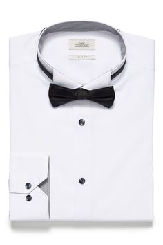 66e2fdc2854 Mens Next White Regular Fit Single Cuff Wing Collar Shirt And Bow Tie Set -  White