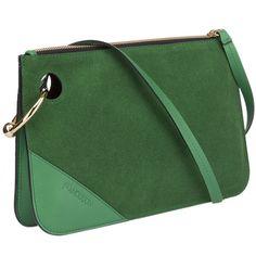 Clutch (910 AUD) ❤ liked on Polyvore featuring bags, handbags, clutches, emerald, zipper handbags, green purse, shoulder strap purses, green handbags and metallic clutches