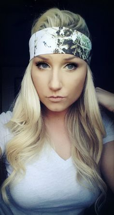WHITE Realtree Camo headband  headband by TheWoodenAntler on Etsy, $15.00