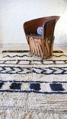 Vintage Moroccan Rug  Natural virgin wool  AZILAL por lacasadecoto, €490.00