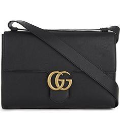 e439c025bbaf11 Gucci Women's Black gg Marmont Medium Brass Tiger Leather Shoulder Bag New  #handbag #shoulderbag