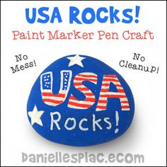 USA Rocks Craft for Kids - Quick and Easy -Use Paint Marker Pens for no mess fun! from Danielle's Place of Crafts and Activities for Kids where Learning is Fun!