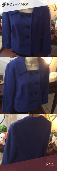 Ann Taylor business jacket size 8 Cadet Blue Ann Taylor business jacket size 8 Cadet Blue double breasted with black buttons. Fully lined nearly new condition Ann Taylor Jackets & Coats Blazers