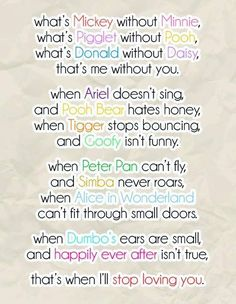 cute disney love quotes sayings sweet Friendship Quotes The Words, Dreamworks, Citations Disney, Poster Disney, Disney Cute, Cute Disney Quotes, Disney Poems, Disney Friendship Quotes, Disney Sayings