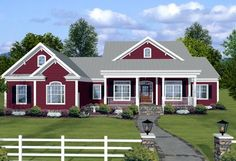 Country   Ranch   House Plan 74834 - I'm really liking this house plan if we ever build one day!