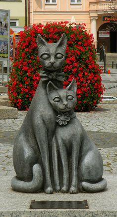 Cat sculpture, Trzebnica, Poland. Near Cat Mountains.