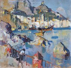 Villani Gennaro (Napoli 1885 - 1948) Amalfi olio su cartone, cm 17x17