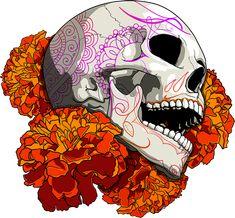Cempaxóchitl Skull por Dani Ramos Vakero, a través de Behance