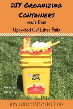 DIY Organizing Containers made from upcycled and reused cat litter pails. A easy way to find another use for your kitty litter boxes.