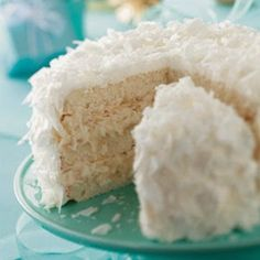 """White Chocolate Coconut Cake   This eye-catching cake is my sister's creation. The white """"snowball"""""""