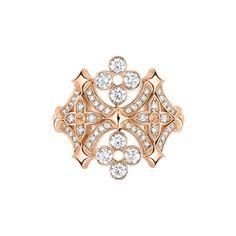 Louis Vuitton Dentelle de Monogram pink gold and diamond ring