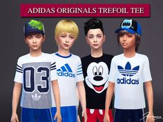Adidas Originals Trefoil Tee for boys. Get Together needed. Found in TSR Category 'Sims 4 Male Child Everyday' Best Sims, My Sims, Sims Cc, Sims 4 Black Hair, Sims 4 Cc Kids Clothing, Sims 4 Children, Sims4 Clothes, Sims 4 Dresses, Sims 4 Cc Packs