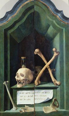 Memento Mori Anonymous Flemish artist - Vanitas (outer wings of the altar triptych). Memento Mori Art, Eslava, Vanitas Vanitatum, The Wicked The Divine, Death Art, Dance Of Death, Occult Art, Momento Mori, Danse Macabre