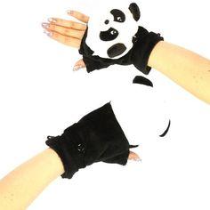 Winter fingerless Panda gloves/mittens