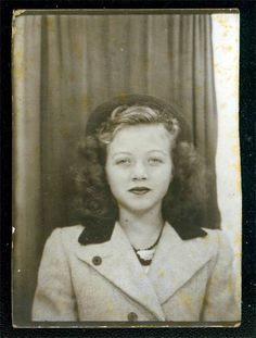 +~ Vintage Photo Booth Picture ~+ 1940's young woman.