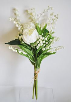WB196WH - Real Touch Peony & Lily of the Valley Bouquet - White - #bouquet #Lily #peony #real #touch #valley #wb196wh #white