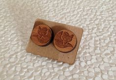 Cherry wood little fox  wood earrings with by SisterWestgarth