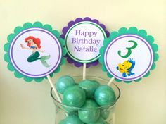 The Little Mermaid Cupcake Toppers by BerrySweetParties on Etsy, $10.00