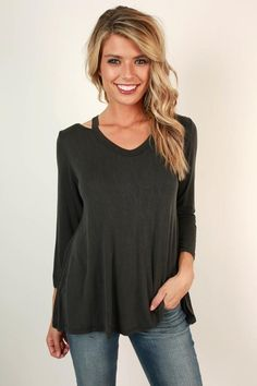 We are all smiles for this top! Pair it with jeans for a simple but still compliment worthy look! This top features a slight distressed wash to give you that effortless casual chic vibe we all love! Autumn Winter Fashion, Winter Style, Fall Fashion, Cut Out Top, Black Media, Boutique Clothing, Casual Chic, Perfect Fit, Tunic Tops