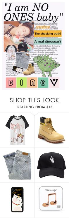 """Dino"" by annamforev3 ❤ liked on Polyvore featuring Balmain, Whiteley, Caterpillar, Paul by Paul Smith, Happy Plugs, Summer, kpop and seventeen"