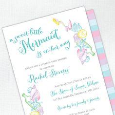 Mermaid Baby Shower Invitation  PRINTED  by tickledpeachstudio, $24.00