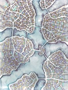 Aorta Islands (Cityspace by Emily Garfield artistic presentation Fantasy City, Fantasy Map, Map Quilt, Stoff Design, Map Painting, Watercolor Map, Old Maps, Map Design, City Maps