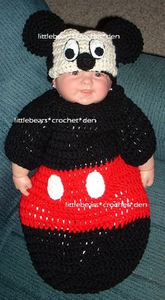 CROCHETED MICKEY MOUSE HAT & COCOON SET https://www.facebook.com/littlebearscrochetden/photos/ms.c.eJwzNDA3N7YwA0JLU2Mjcws9Q6iAOUTAHAB0Zgbf.bps.a.529117127113591.119891.129247753767199/1077386868953278/?type=3&theater