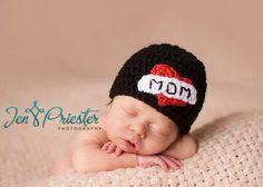 Download PDF crochet pattern 020 - I Love Mom beanie - Multiple sizes from newborn through 12 months via Etsy