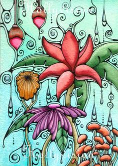 whimsical art | abstract flowers by Whimsical Hawaiian Art by Holly Kitaura