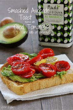 Smashed Avocado Toast with Oiled Tomatoes (and lots of pepper!) | Liv Life A new family favorite. My kids can't get enough of this toast! @livlifetoo