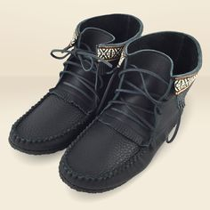Men's Black Leather Moccasin Boots with Crepe Sole - 137597Bk