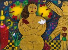 Girl in gold Contemporary Decorative Art, Greek Art, Naive Art, Flower Art, Folk Art, Disney Characters, Fictional Characters, Objects, Princess Zelda