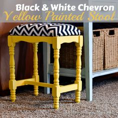 Yellow Chalk Paint Stool with Black and White Chevron Fabric