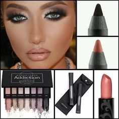 Addiction Pallet #3 3D+ Fiber Mascara Affluent Lipstick Pouty Lip Liner Perfect Eye Liner