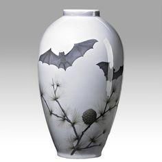 ROYAL COPENHAGEN porcelain vase with bats