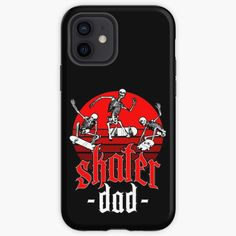 """""""Skater Dad Retro Sunset Skateboarding Halloween Skeletons"""" iPhone Case & Cover by GrandeDuc   Redbubble"""