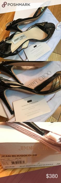 Jimmy Choo. Elaphe. Snake glitter. Jimmy Choo. Size 38. Black and gold. Fits size 7. Jimmy Choo Shoes Heels