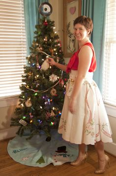 skirt made from vintage christmas tablecloth - adorable!