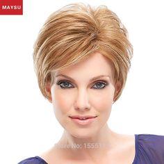49.00$  Watch here - http://alidgi.worldwells.pw/go.php?t=32505261328 - Short Human Hair Wigs For Women Curly MAYSU Side Bang Trendy Brazilian Virgin Hair Blonde wig Capless European Style 49.00$