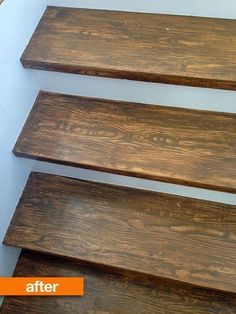 Faux wood stair treads -- Sarah has some mad graining skills! Have you ever tried to fake wood with paint? Seriously. It ain't easy. Totally copying this if I can't strip the black paint off my stairs. (from Compulsive Craftiness via Apartment Therapy)