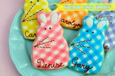 Haniela's: Easy Gingham Bunny Cookies for Easter