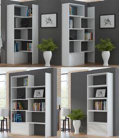 "BMF ""PACO"" EXTENDABLE BOOKSHELF SYSTEM IN 3 COLOURS - 74cm-130cm wide - UNIQUE GEOMETRIC DESIGN - WHITE: Amazon.co.uk: Kitchen & Home"