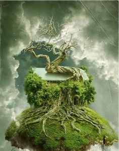Создаём летающий дом-дерево в Фотошоп