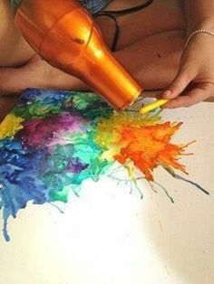 Melted crayon art. So easy, so cool!