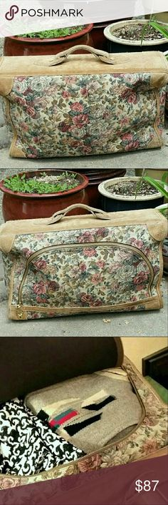 """Vintage Shabby Chic Carpet Bag Travel Bag Vintage Floral and Leather Carpet Bag Overnight Bag Suitcase Luggage Travel Bag for Gypsy Boho Vagabond.  Easy, casual overnighter.  Zips open with inner pockets and straps.   Leather top and bottom is slightly """"has been used"""", but is in good overall shape without stains or tears.  Key is included. Measures 12"""" × 21"""" × 6.5"""" Bags Travel Bags"""
