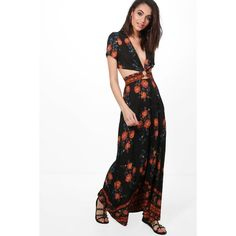 ce1bcf5e4a Boohoo Nelly Cut Out Border Print Floral Maxi Dress ($22) ❤ liked on  Polyvore