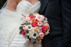 Coral, Peach and Grey Garden roses, hydrangea and dusty miller Florist: Bella Bloom Florals - Sherwood, Oregon www.bellabloomflorals.com Justin and Courtnay's Charming Vancouver, WA Real Wedding by Powers Photography Studios