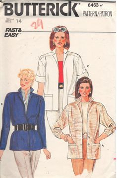 Short sleeve jackets are a great Summer/Fall transition piece, Vintage Butterick 6463. Check out the new COAT/JACKET section of my Etsy store, EXTREMESEWINGDIVA.  https://www.etsy.com/listing/242875105/butterick-6463-sz-14bust-36-vintage-80s?