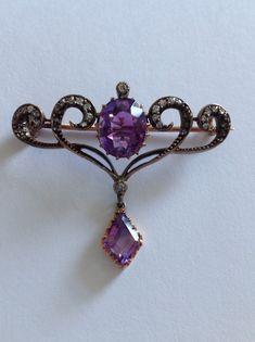 Fine Art Nouveau Amethyst And Diamond Set Brooch | eBay